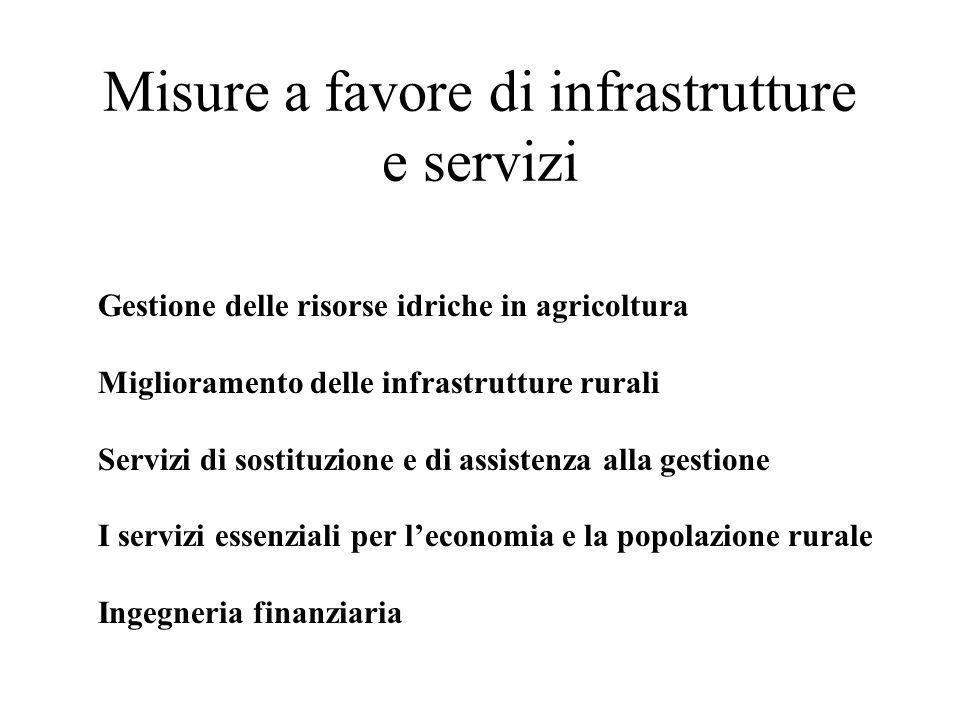 Misure a favore di infrastrutture e servizi