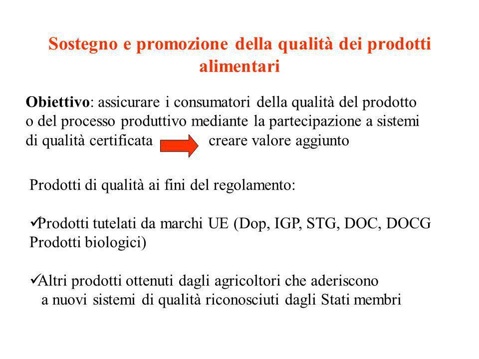 Sostegno e promozione della qualità dei prodotti alimentari