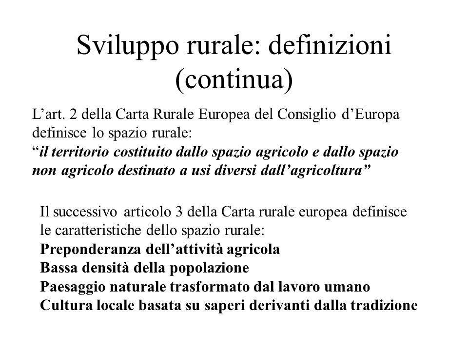 Sviluppo rurale: definizioni (continua)