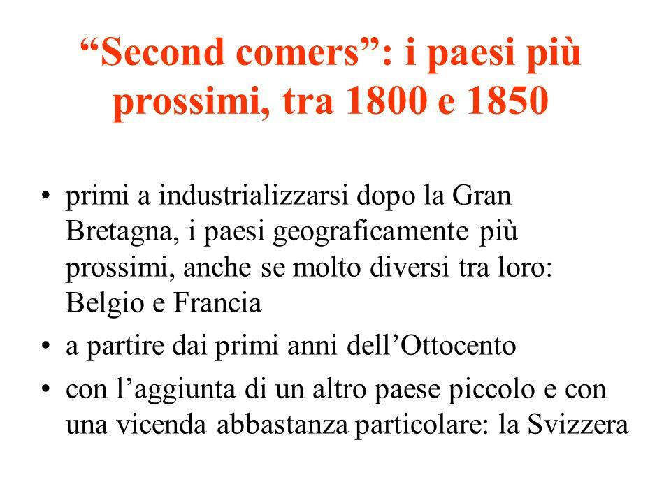 Second comers : i paesi più prossimi, tra 1800 e 1850