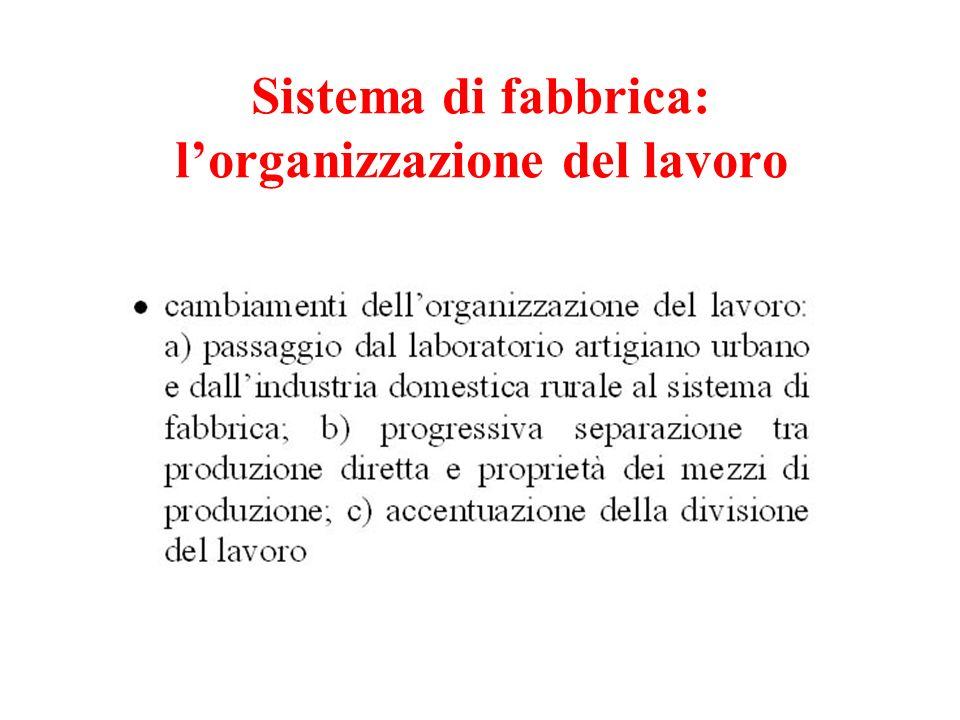 Sistema di fabbrica: l'organizzazione del lavoro