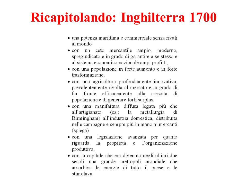 Ricapitolando: Inghilterra 1700