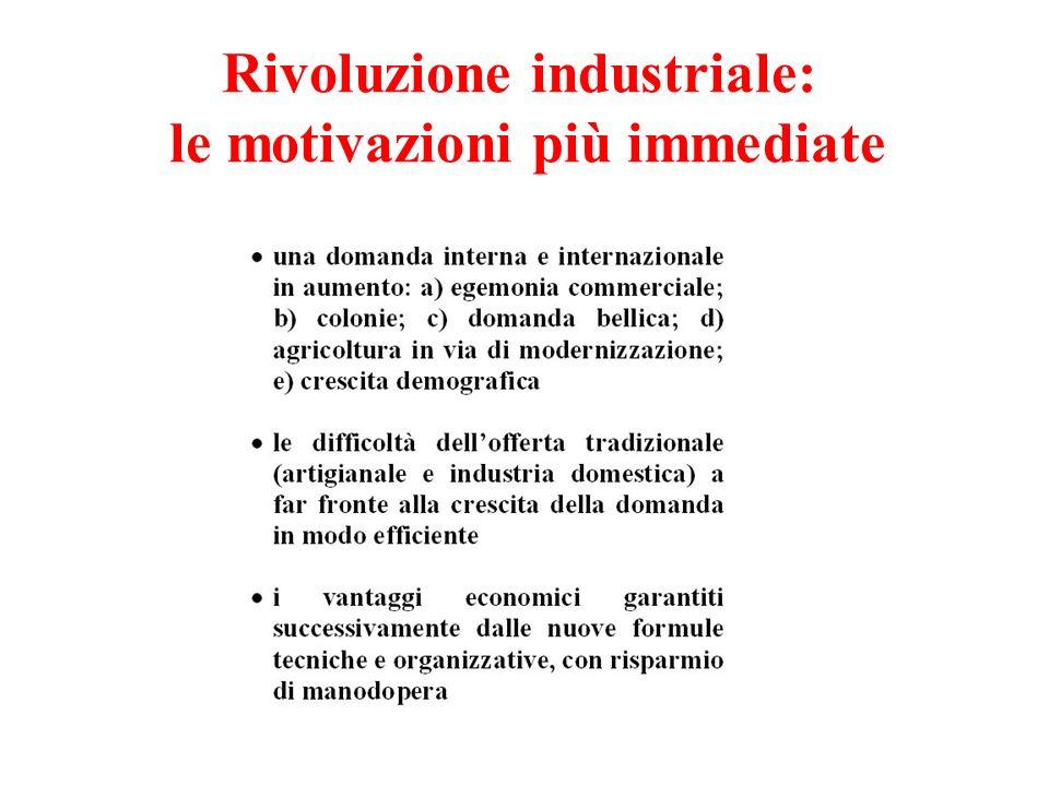Rivoluzione industriale: le motivazioni più immediate