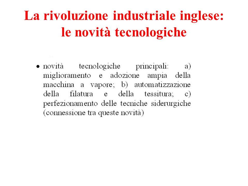 La rivoluzione industriale inglese: le novità tecnologiche