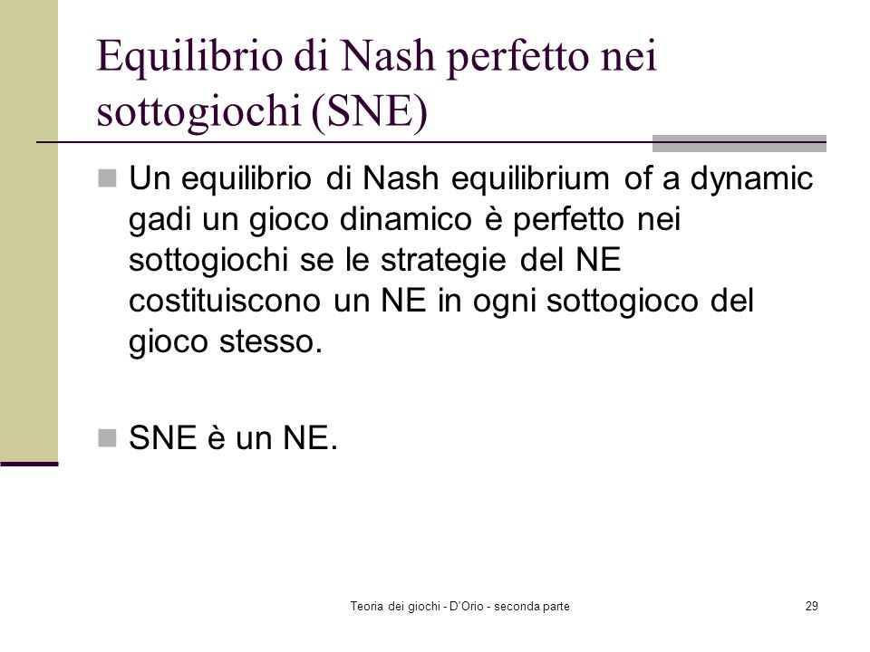 Equilibrio di Nash perfetto nei sottogiochi (SNE)