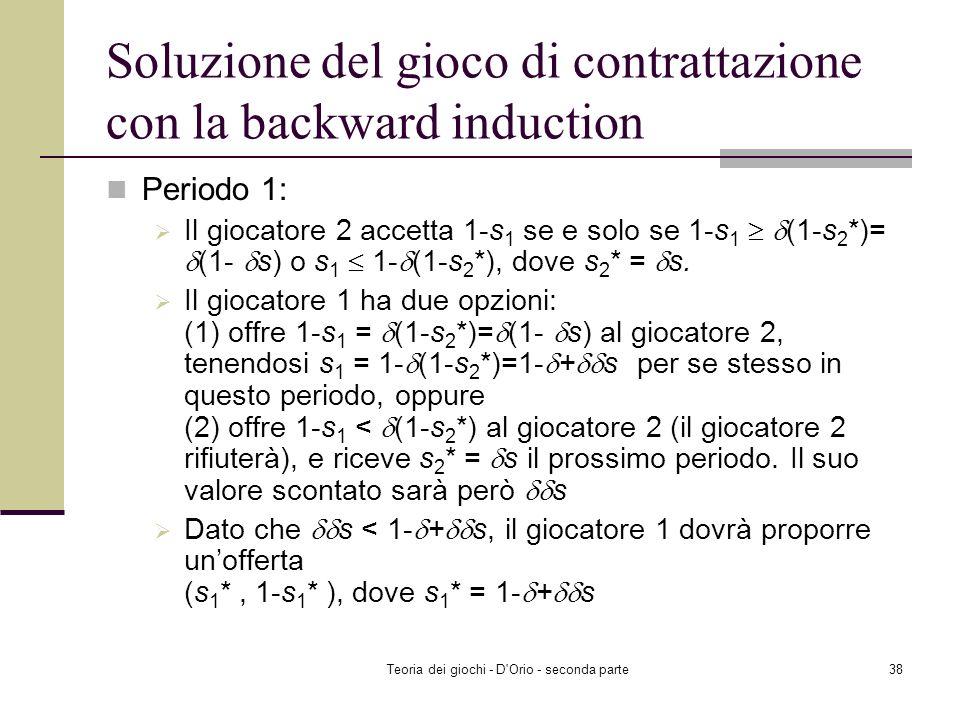 Soluzione del gioco di contrattazione con la backward induction