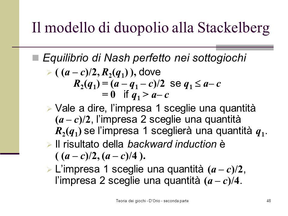 Il modello di duopolio alla Stackelberg