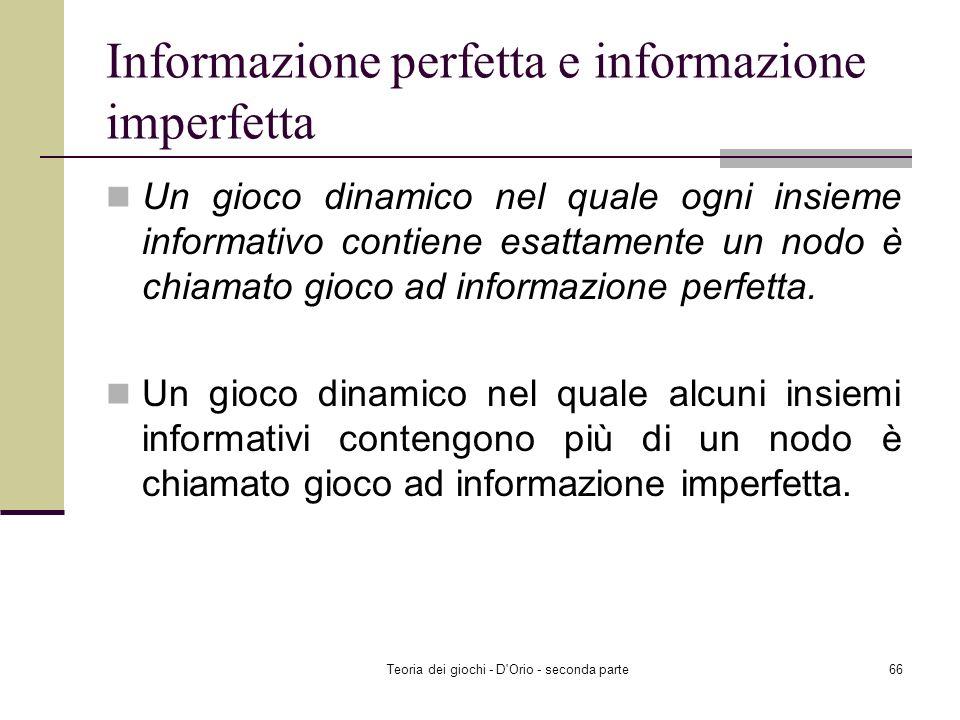 Informazione perfetta e informazione imperfetta