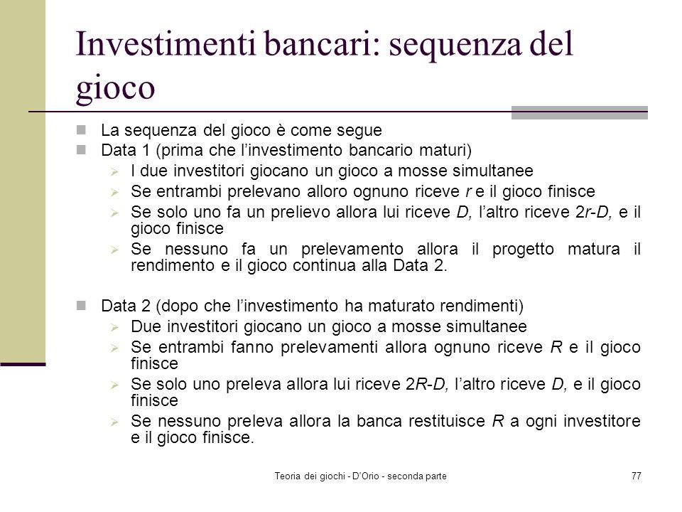 Investimenti bancari: sequenza del gioco