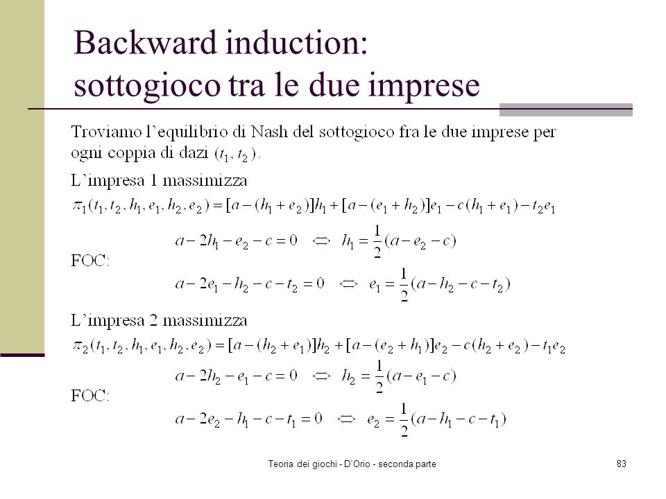 Backward induction: sottogioco tra le due imprese