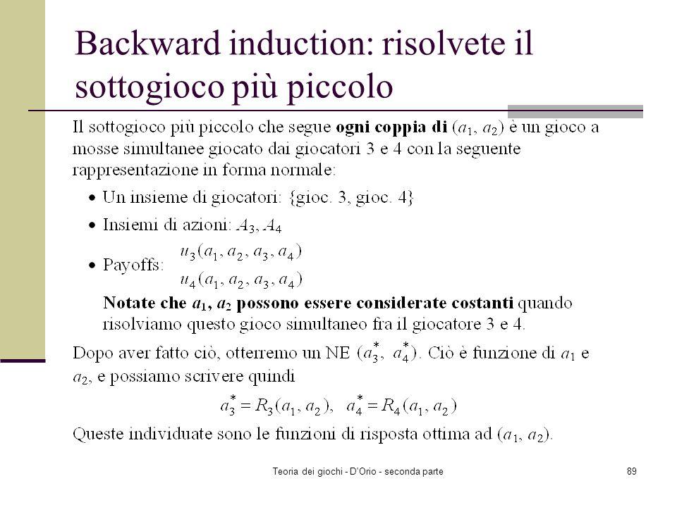 Backward induction: risolvete il sottogioco più piccolo