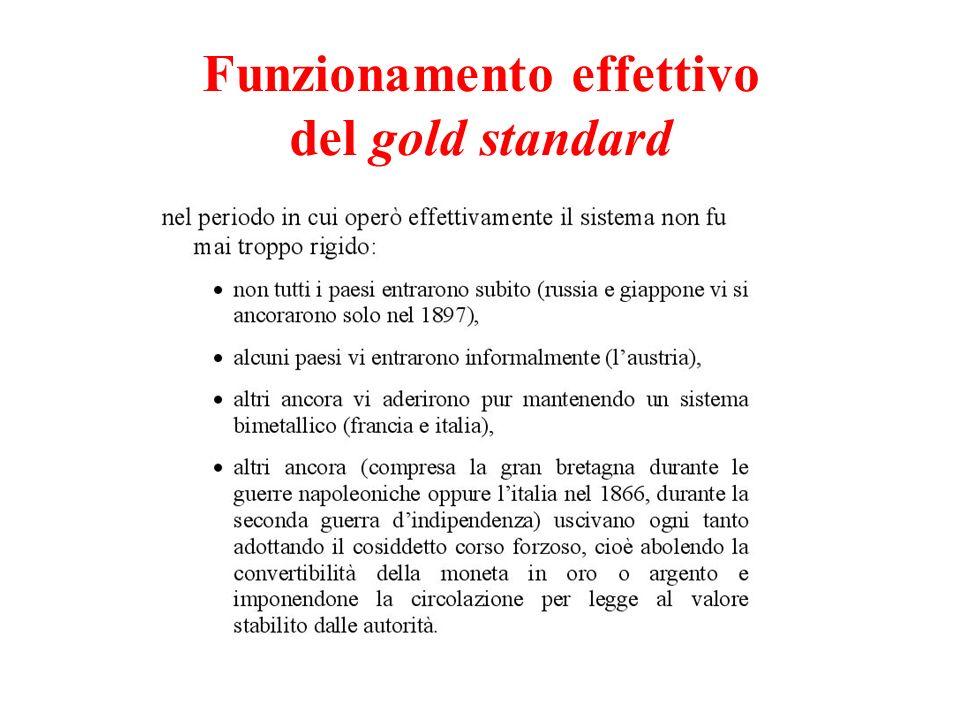Funzionamento effettivo del gold standard