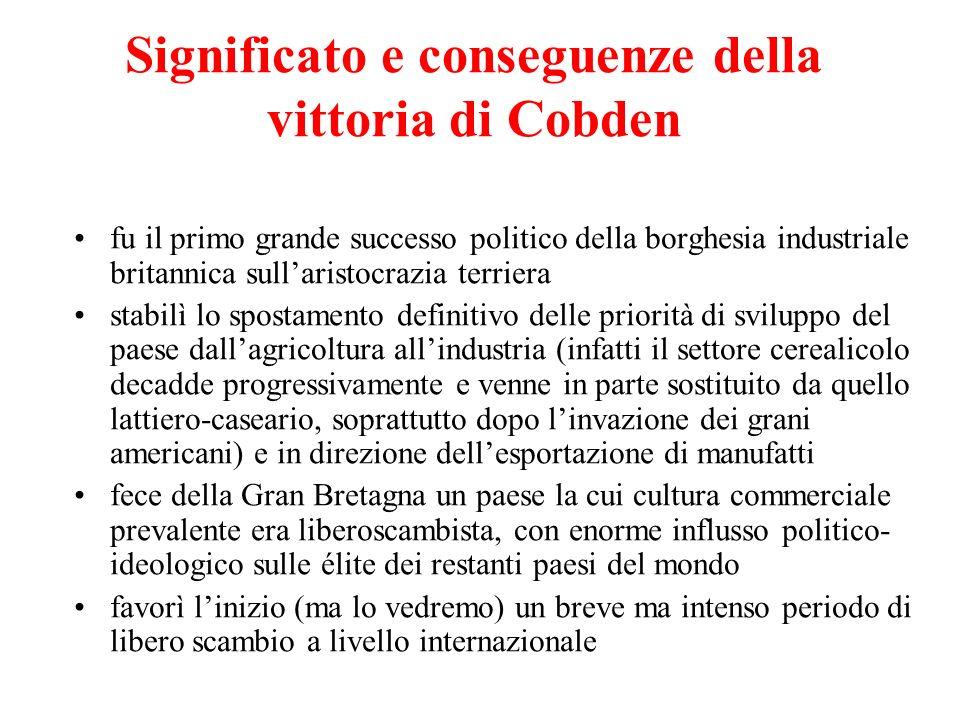 Significato e conseguenze della vittoria di Cobden