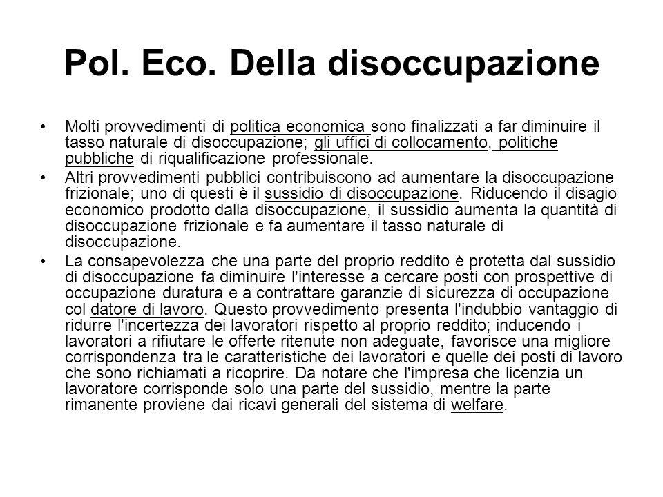 Pol. Eco. Della disoccupazione
