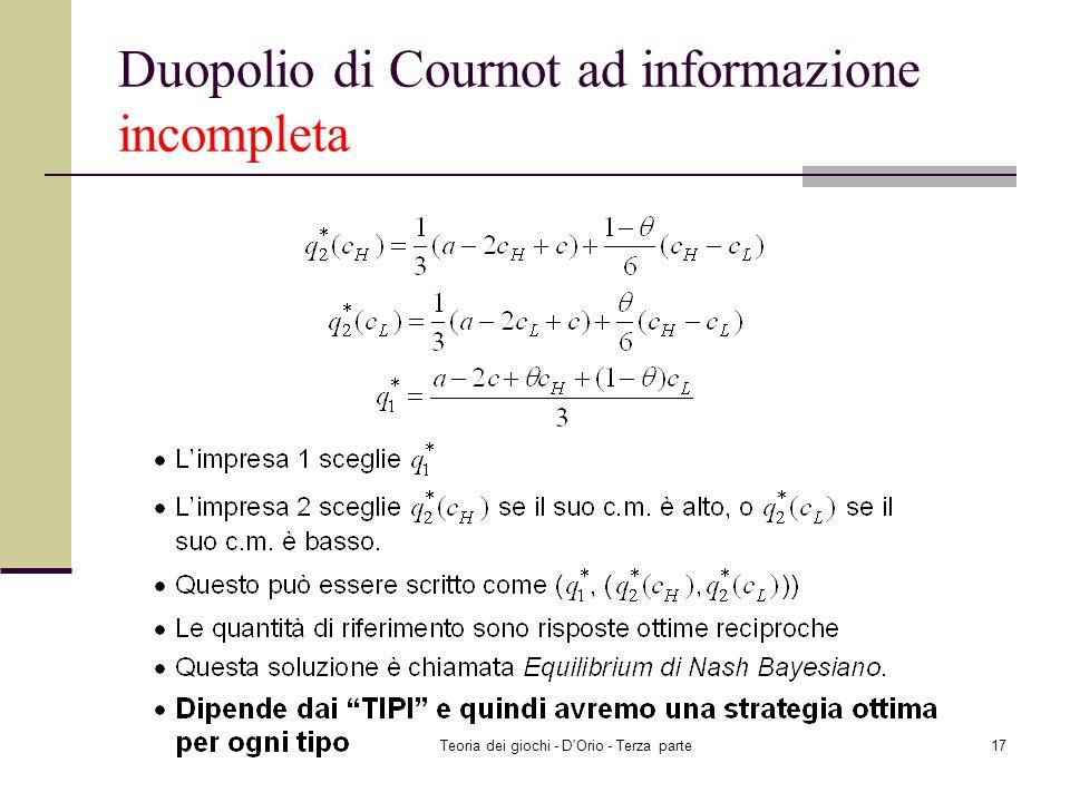 Duopolio di Cournot ad informazione incompleta
