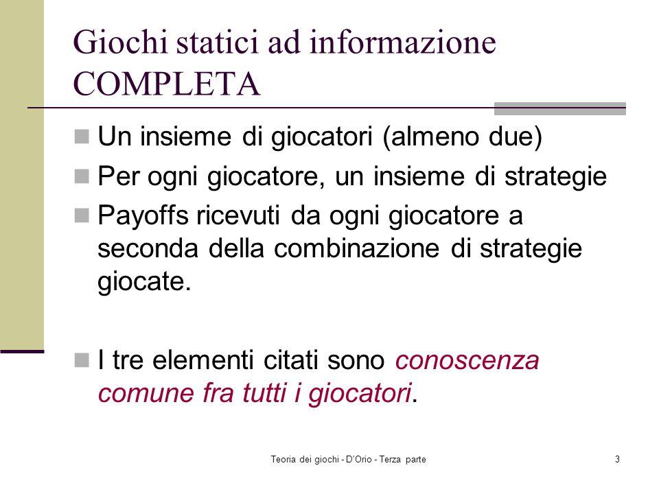 Giochi statici ad informazione COMPLETA