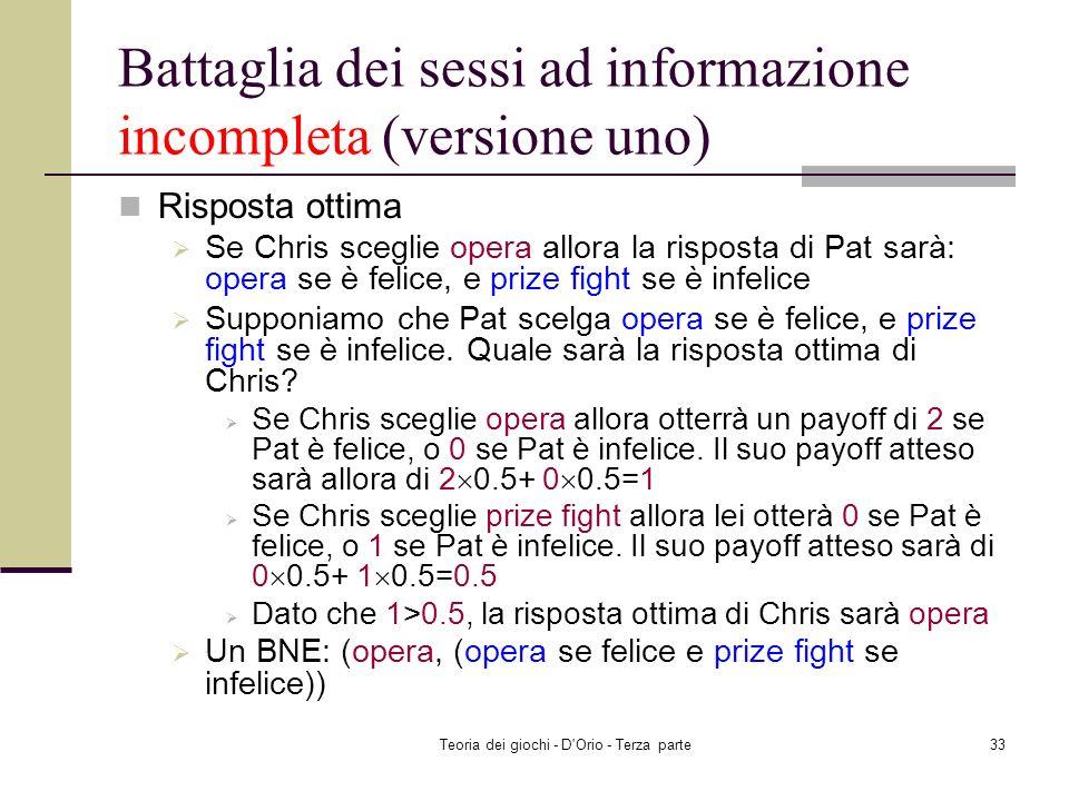 Battaglia dei sessi ad informazione incompleta (versione uno)