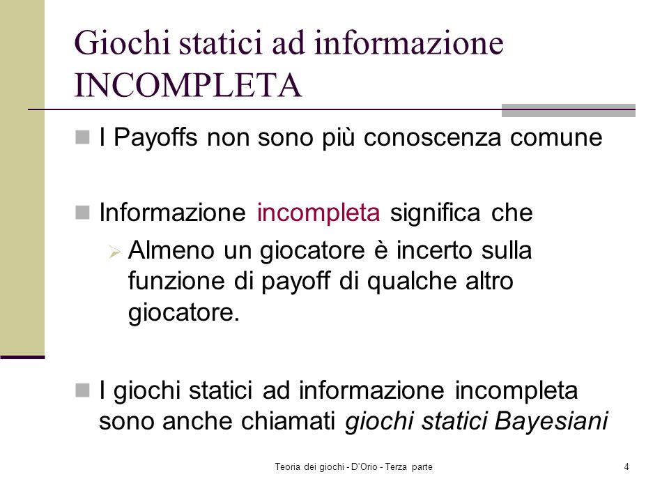 Giochi statici ad informazione INCOMPLETA