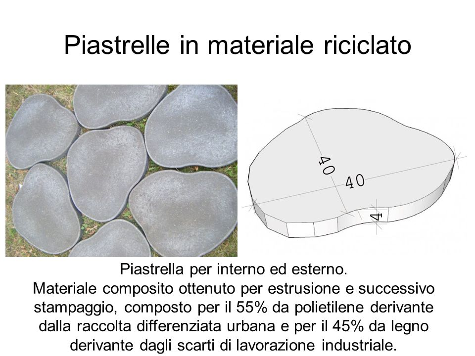 Piastrelle in materiale riciclato