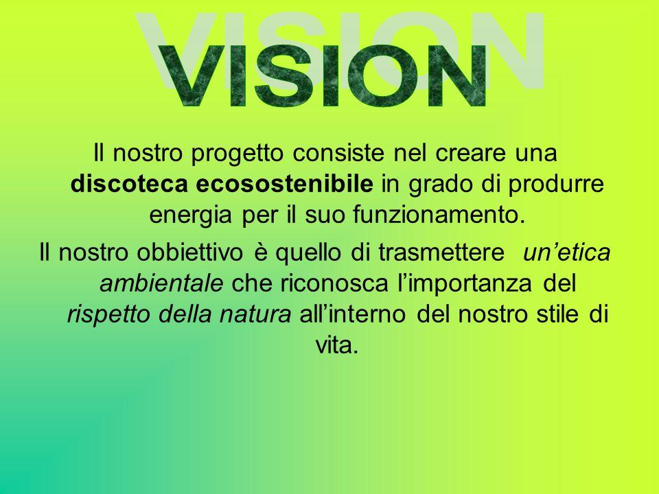 VISION Il nostro progetto consiste nel creare una discoteca ecosostenibile in grado di produrre energia per il suo funzionamento.