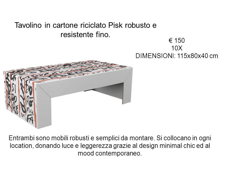 Tavolino in cartone riciclato Pisk robusto e resistente fino.