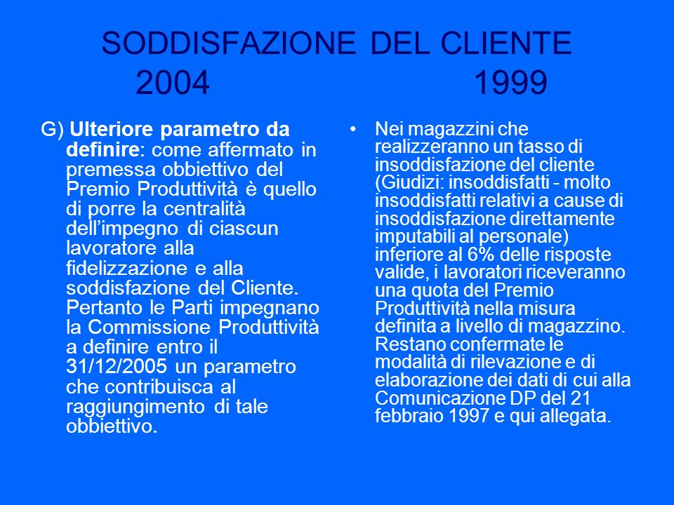 SODDISFAZIONE DEL CLIENTE 2004 1999