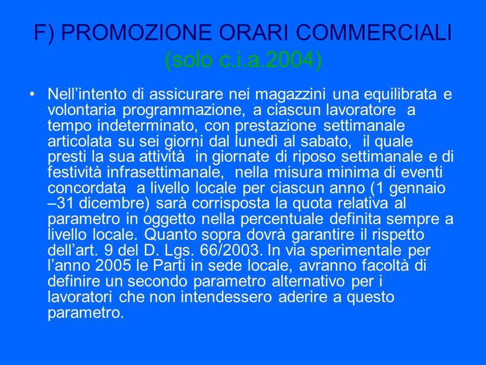 F) PROMOZIONE ORARI COMMERCIALI (solo c.i.a.2004)
