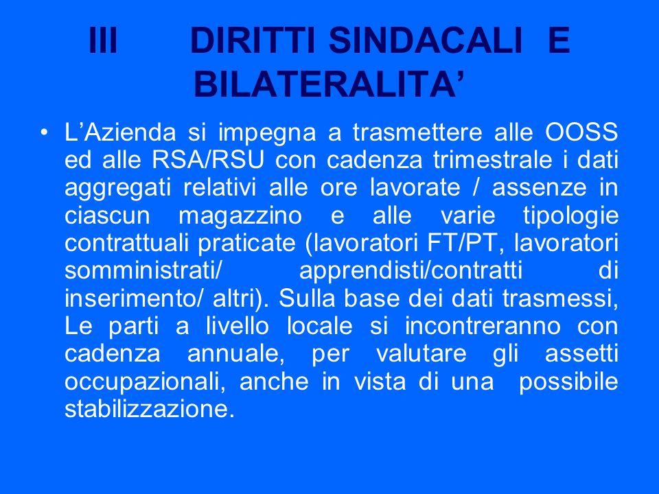III DIRITTI SINDACALI E BILATERALITA'