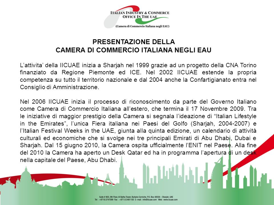CAMERA DI COMMERCIO ITALIANA NEGLI EAU