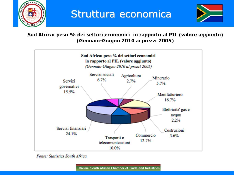 Struttura economica Sud Africa: peso % dei settori economici in rapporto al PIL (valore aggiunto) (Gennaio-Giugno 2010 ai prezzi 2005)