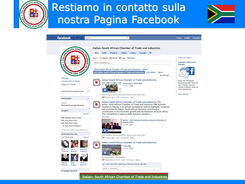 Restiamo in contatto sulla nostra Pagina Facebook