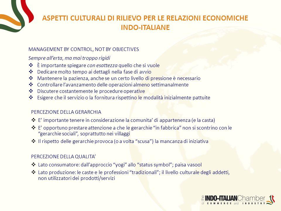 ASPETTI CULTURALI DI RILIEVO PER LE RELAZIONI ECONOMICHE INDO-ITALIANE