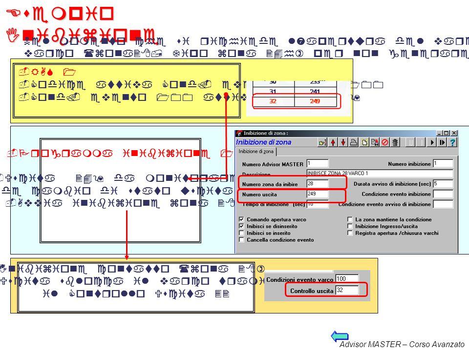 Esempio Inibizione Nel momento che si richiede l'apertura del varco dalla RAS 1,deve essere inibito il contatto sul.