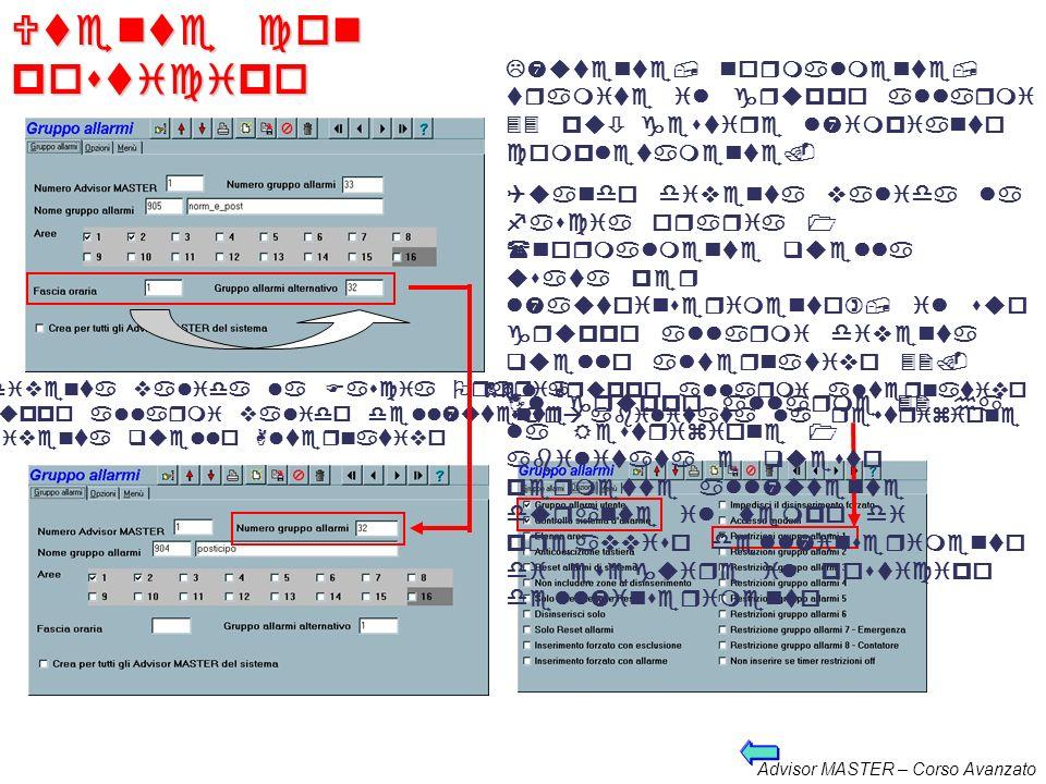 Utente con posticipo L'utente, normalmente, tramite il gruppo allarmi 33 può gestire l'impianto completamente.
