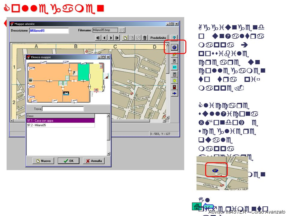 Collegamenti mappe. Aggiungendo un'altra mappa è possibile creare un collegamento tra più mappe.