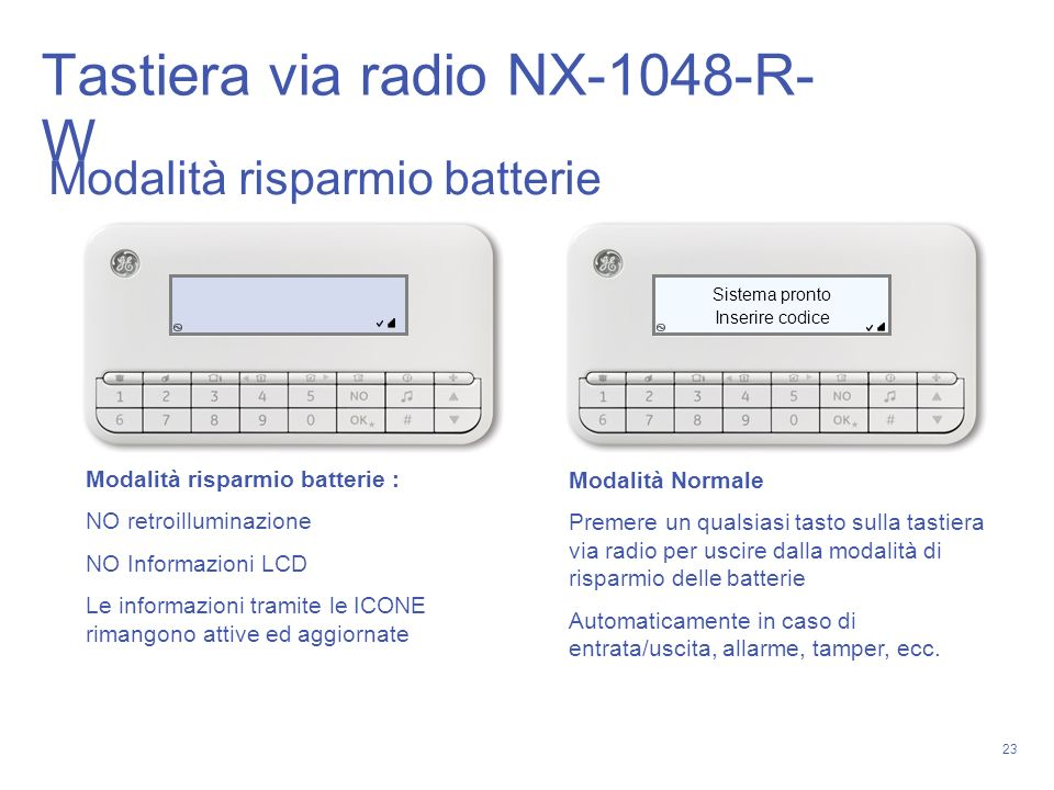 Tastiera via radio NX-1048-R-W