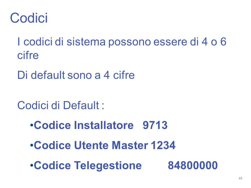 Codici I codici di sistema possono essere di 4 o 6 cifre