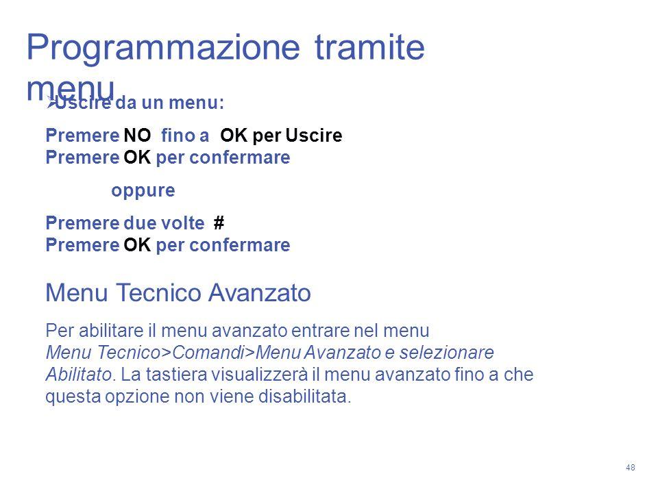 Programmazione tramite menu