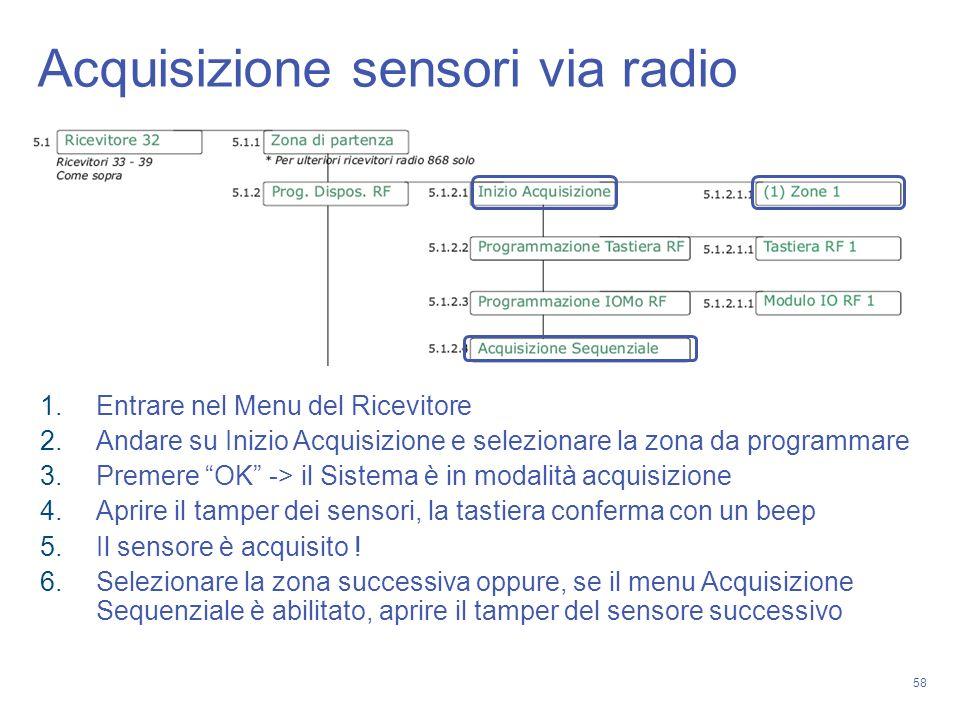 Acquisizione sensori via radio