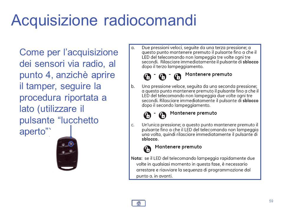 Acquisizione radiocomandi