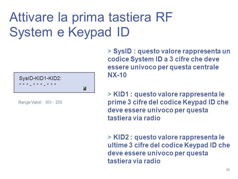 Attivare la prima tastiera RF System e Keypad ID
