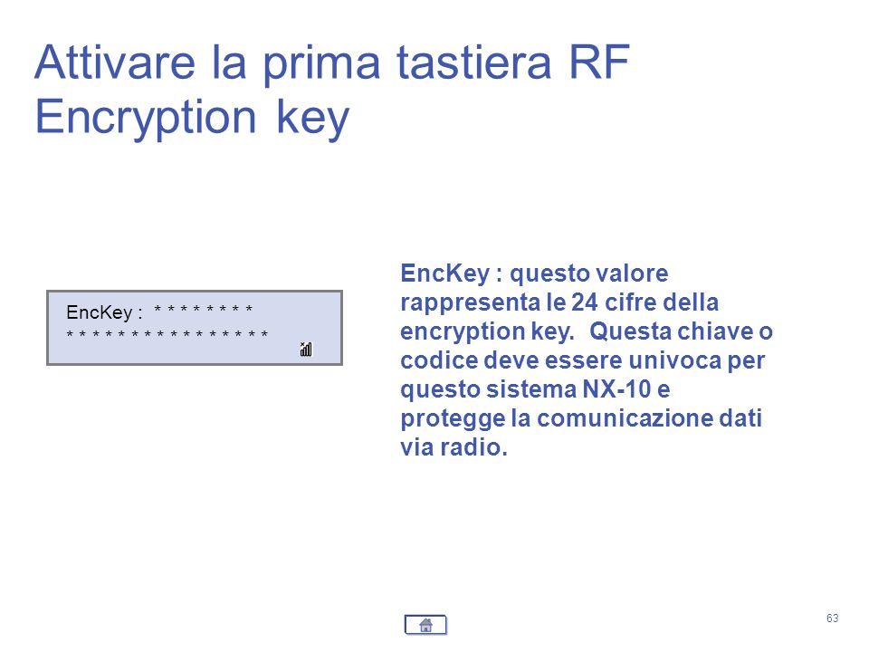 Attivare la prima tastiera RF Encryption key