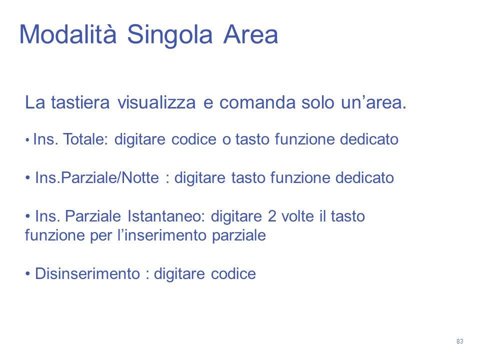 Modalità Singola Area La tastiera visualizza e comanda solo un'area.