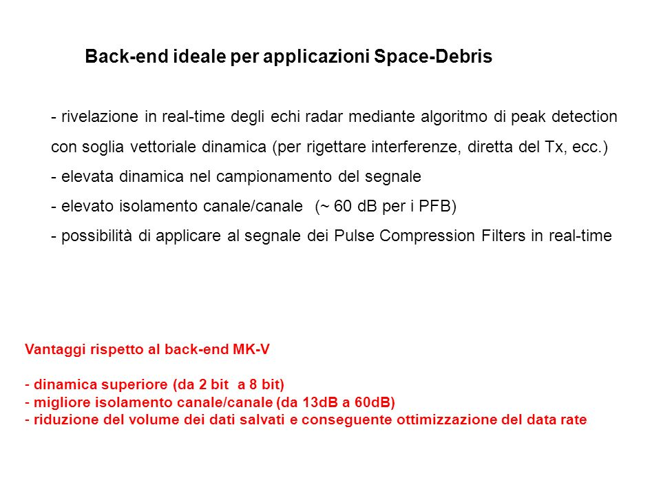 Back-end ideale per applicazioni Space-Debris