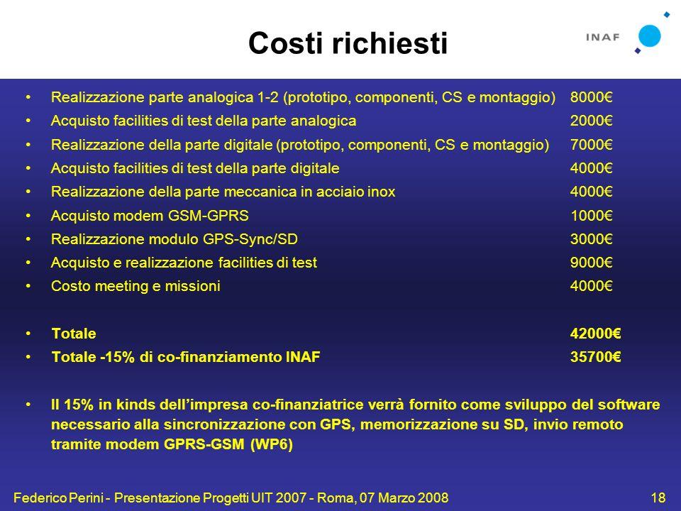 Costi richiesti Realizzazione parte analogica 1-2 (prototipo, componenti, CS e montaggio) 8000€