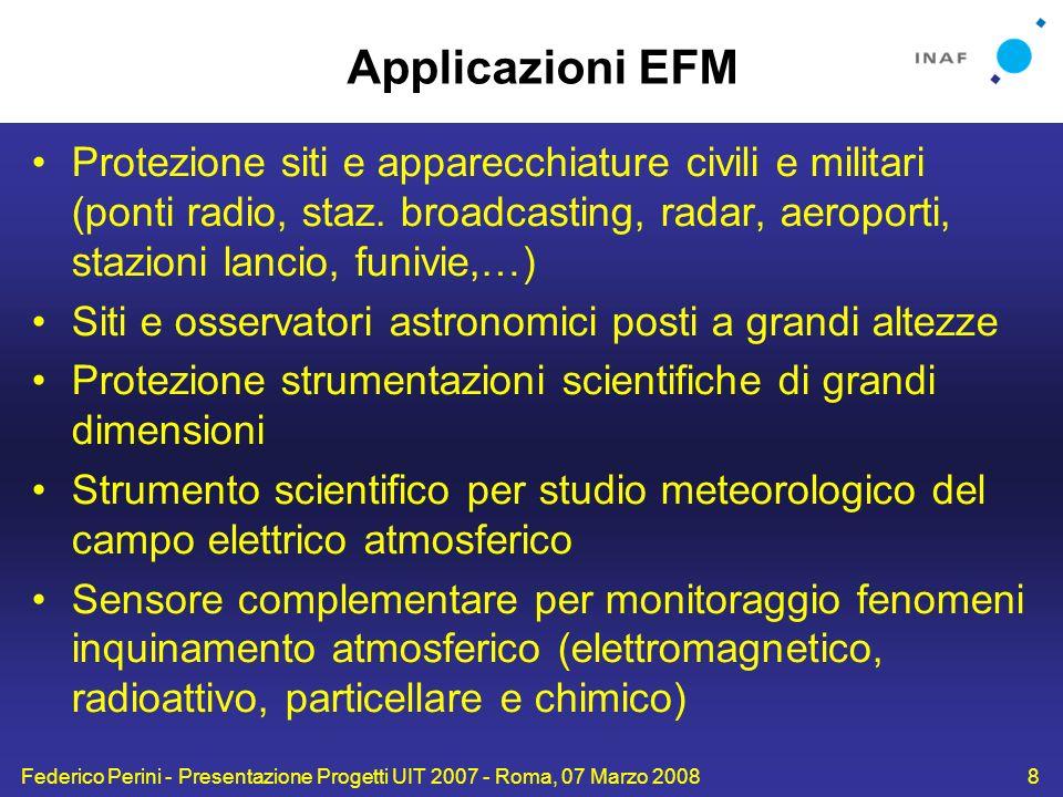 Applicazioni EFM Protezione siti e apparecchiature civili e militari (ponti radio, staz. broadcasting, radar, aeroporti, stazioni lancio, funivie,…)