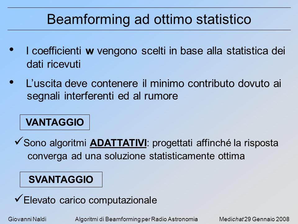 Beamforming ad ottimo statistico