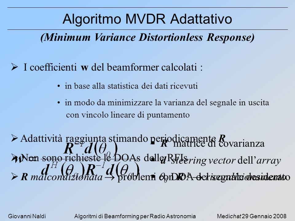 Algoritmo MVDR Adattativo
