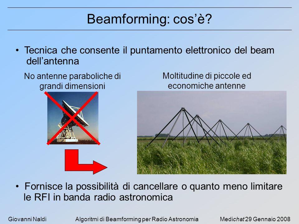 Beamforming: cos'è Tecnica che consente il puntamento elettronico del beam. dell'antenna. No antenne paraboliche di grandi dimensioni.