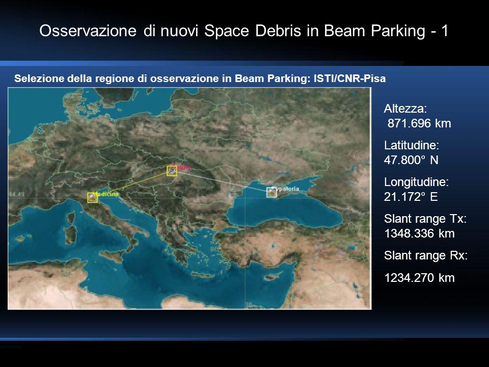 Osservazione di nuovi Space Debris in Beam Parking - 1